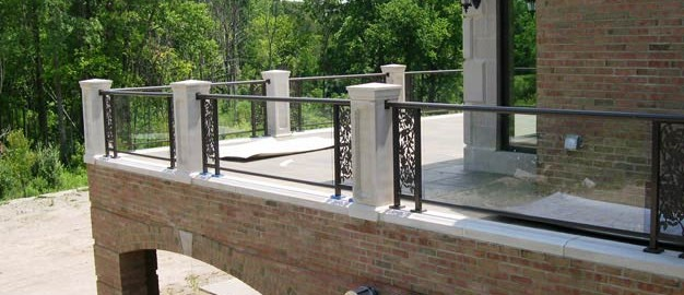 Glass railing with Custom Scroll