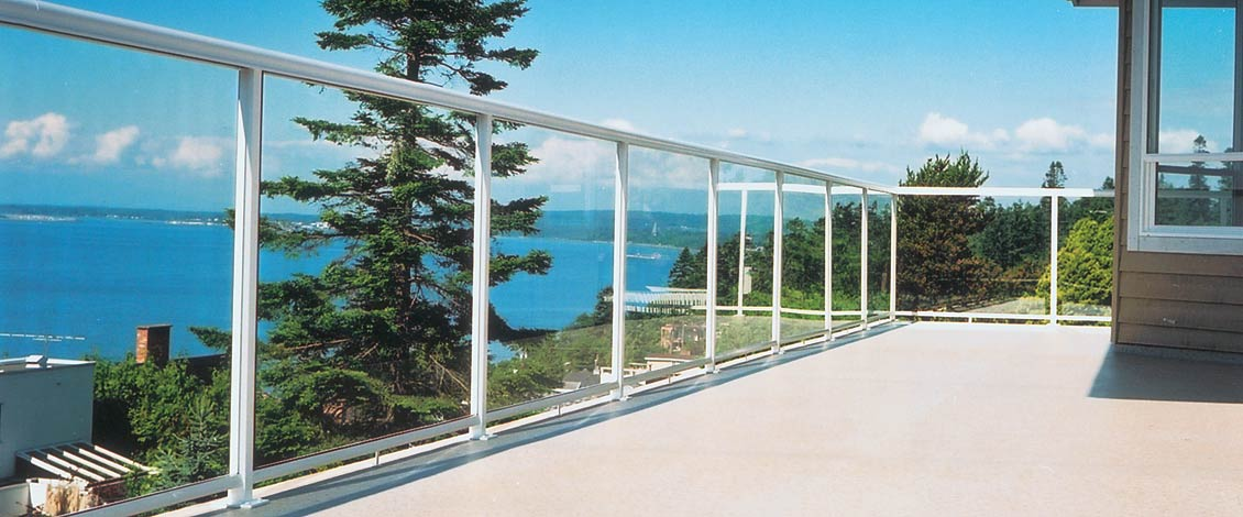 Aluminum deck railing, glass railing, powdercoated aluminum