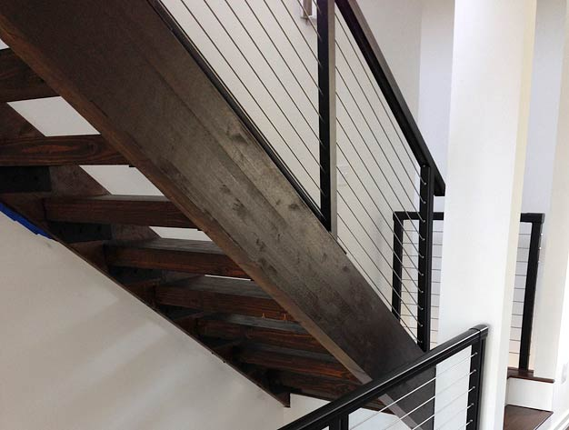 Stair railings custom built stair guardrails and for Pre built stairs interior
