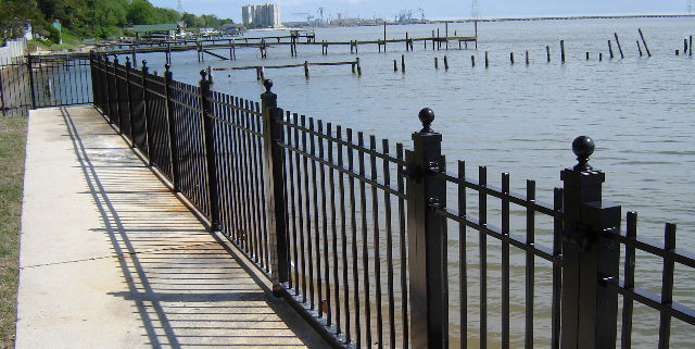 Black Aluminum Picket Fencing at Shoreline